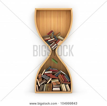 Concept Of Time To Training. Wolf Full Of Boden Booksheooks In Form Of Hourglass. Idea Is Based On K
