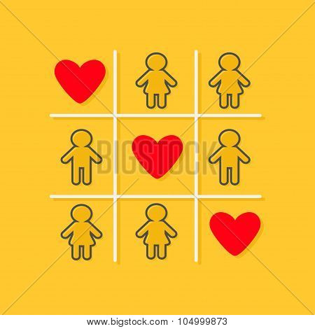 Man Woman Contour Line Icon Tic Tac Toe Game. Three Red Heart Sign Yellow Background Flat Design
