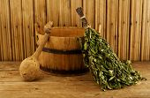 stock photo of washtub  - Traditional equipment for Russian bath from wood - JPG