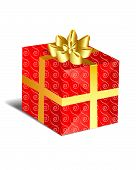 pic of christmas-present  - christmas present wrapped with red patterned paper and golden ribbon with bow - JPG