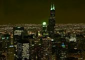A Aerial View Of The Chicago Night