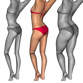image of emaciated  - Concept or conceptual 3D woman or girl as fat - JPG