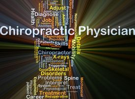 stock photo of chiropractic  - Background concept wordcloud illustration of chiropractic physician glowing light - JPG