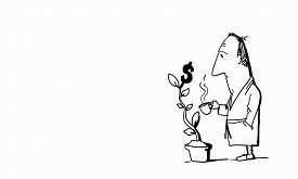 pic of caricatures  - Caricature of funny businessman watering money tree on white background - JPG