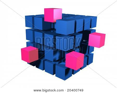 Red block coming out of many blue blacks
