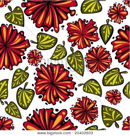 Blumen und Blätter seamless Pattern.