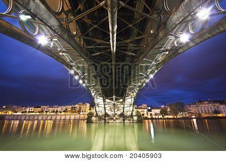 Sevillie, Panorama Of The Riverside Under The Triana Bridge.