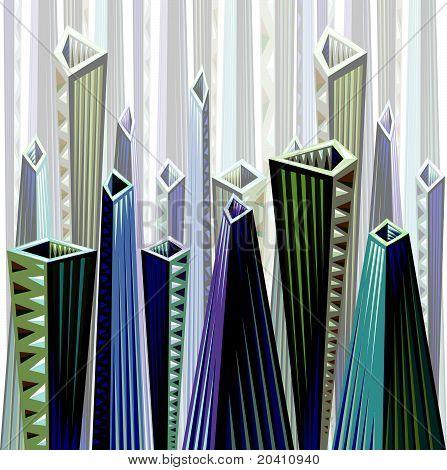 Horizontally repeatable city scape.