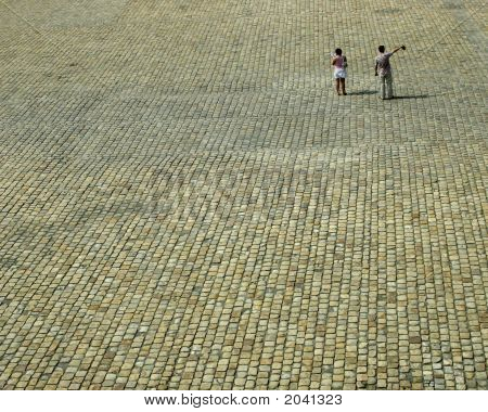 Two People On Plaza