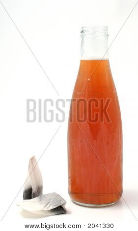 Iced Tea In A Bottle With Tea Bags