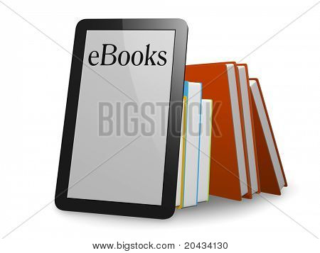 A nice ebook in front of normal books