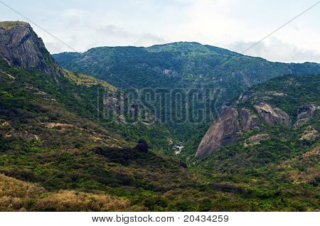 Western ghats in India with thick vegetation