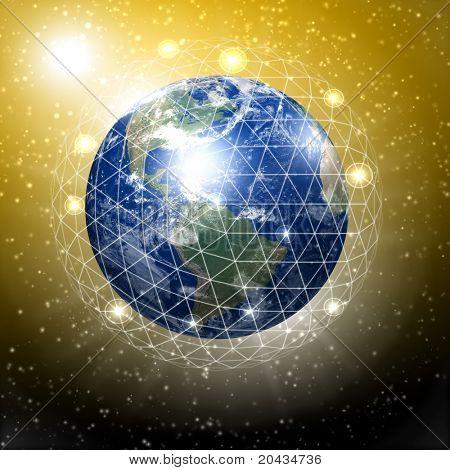 Planetenerde mit Kommunikation Links rund um