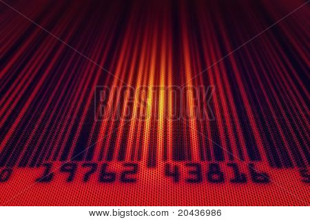 Abstract bar code with scanning back light - 3d render with dotted design