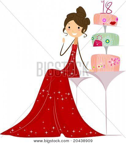 Ilustración de una Debutante sentado junto a su torta