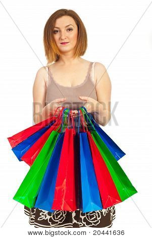 Redhead Woman Hold Colorful Shopping Bags