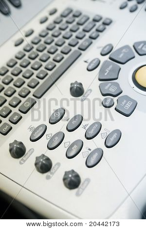 keyboard modern medical ultrasound device as a background
