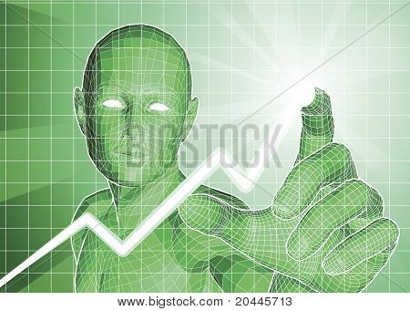 Futuristic Figure Tracing Upwards Trend On Graph