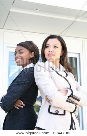 A successful asian and african business team of diverse women
