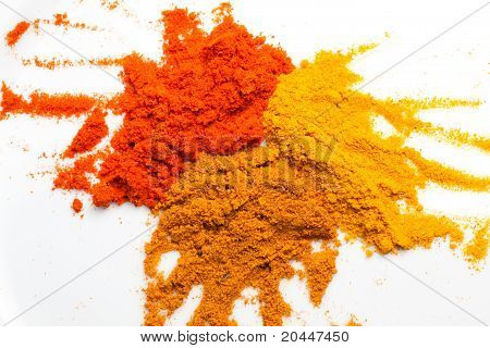 Tumeric, curry, and chilly powder