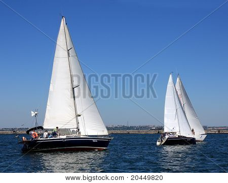 Sailing boat during a regatta