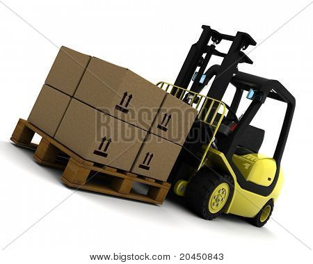 3D Render of Yellow Fork Lift Truck Isolated on White