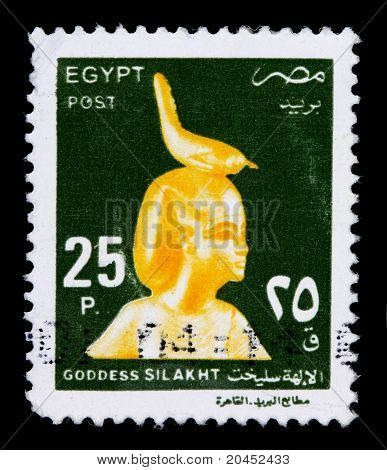 Egypt - Circa 2000: A 25-piastre Stamp Printed In Egypt Shows A Golden Statue Of The Goddess Silakht