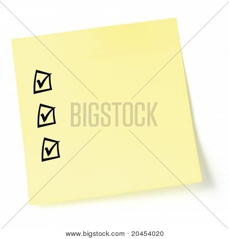 Yellow Sticker Checklist, Black Tick Marks And Checkboxes, Isolated