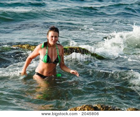 Girl In Sea Waves....