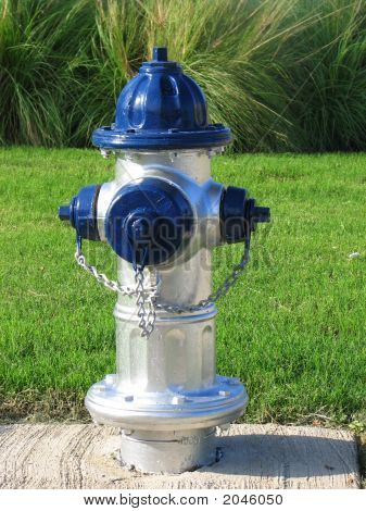 Texas Cowboy Colored Blue Sliver Fire Hydrant