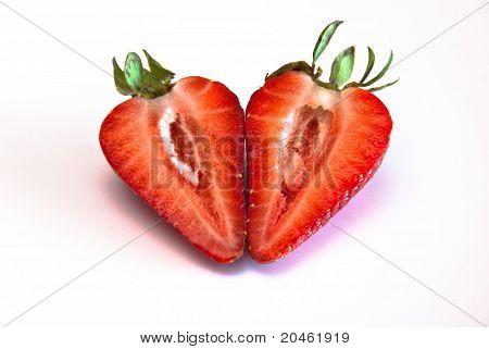 a strawberry split into two