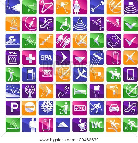 64 Multicolored Hotel Icons