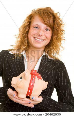 Woman Carrying Piggy Bank