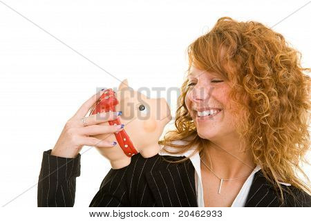 Woman With Piggy Bank On Shoulder