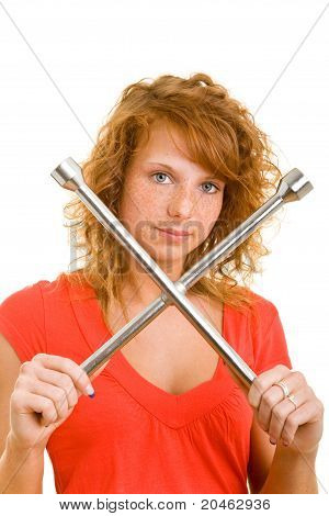 Woman Showing Lug Wrench