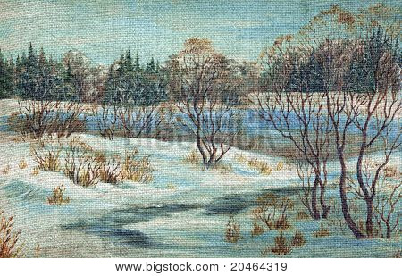 Landscape, winter river