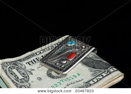 Silver And Turquoise Money Clip