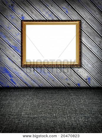 Original Stylish Vintage Plank Decorated Wal With Blue Paint L And Carpet Floor Interior With Frame