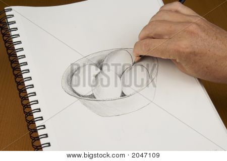 Hand Drawing Eggs In A Bowl