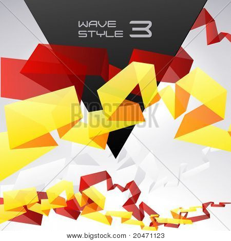 Abstract vector composition in the style of origami of colored ribbons