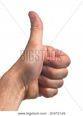 Man's First Finger Against White Background
