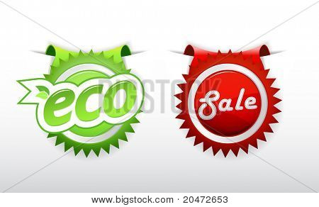 Set of sale and ecology badge.