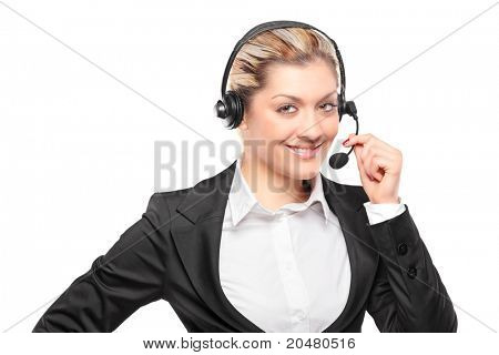 Portrait of a customer service operator wearing a headset isolated on white background