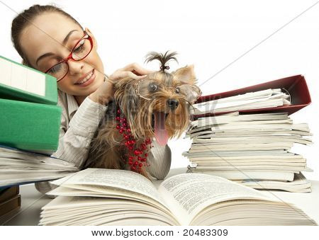 The young student girl with Yorkshire Terrier on table with the books isolated on a white background