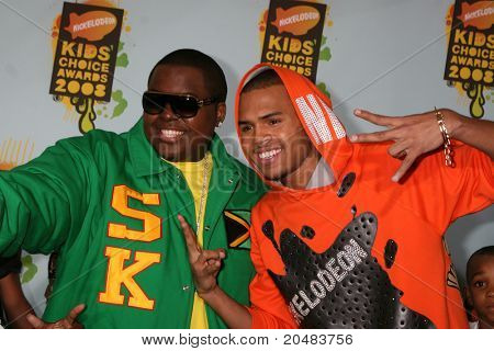 LOS ANGELES - MAR 29:  Sean Kingston, Chris Brown arriving at the 2008 Nickelodeon's Kids' Choice Awards at UCLA Pauley Pavilion on March 29, 2008 in Westwood, CA
