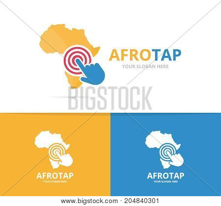 poster of Vector africa and click logo combination. Safari and cursor symbol or icon. Unique geography, continent and digital logotype design template.
