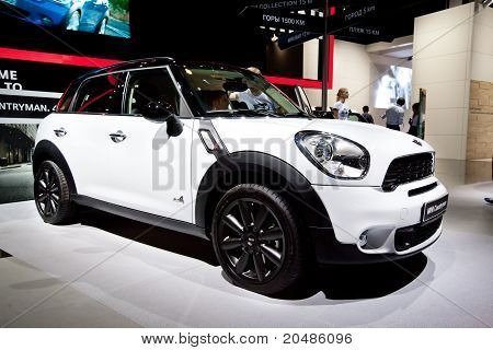 Moscow, Russia - August 25: White  Car Mini Cooper At Moscow International Exhibition Interauto On A