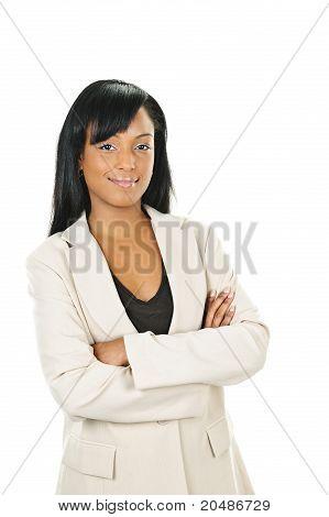 Confianza empresaria negra con los brazos cruzados
