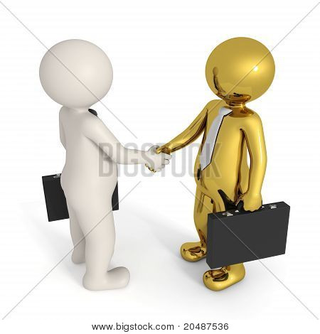 Deal - 3D Business People - Gold