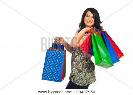 Happy Woman Walking At Shopping
